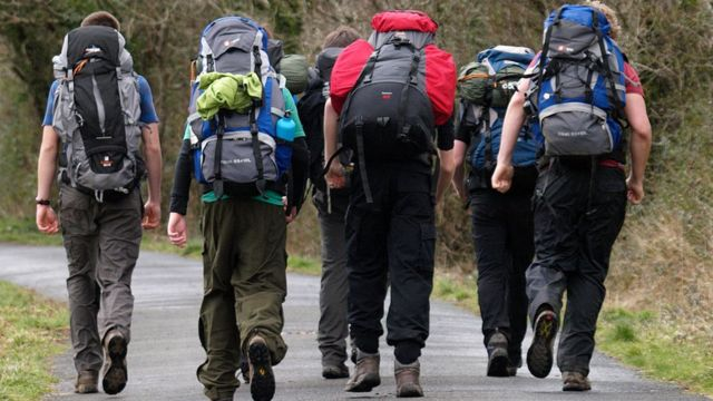 Teenagers on expedition during the award in Devon, England.