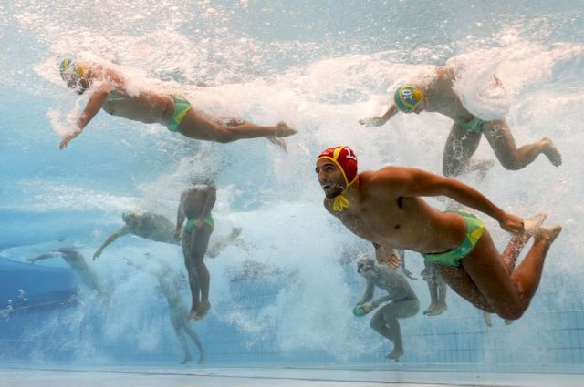 The Australia team enter the pool during the Men's Water Polo on day ten of the 2017 FINA World Championships on 23 July 2017 in Budapest, Hungary.