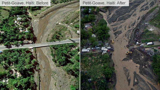 プティ・ゴアブ橋が4日に崩壊したため、南西部の一部が孤立している