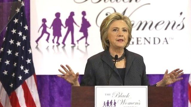 Hillary Clinton addresses the Black Women's Agenda's 29th Annual Symposium on 16 September