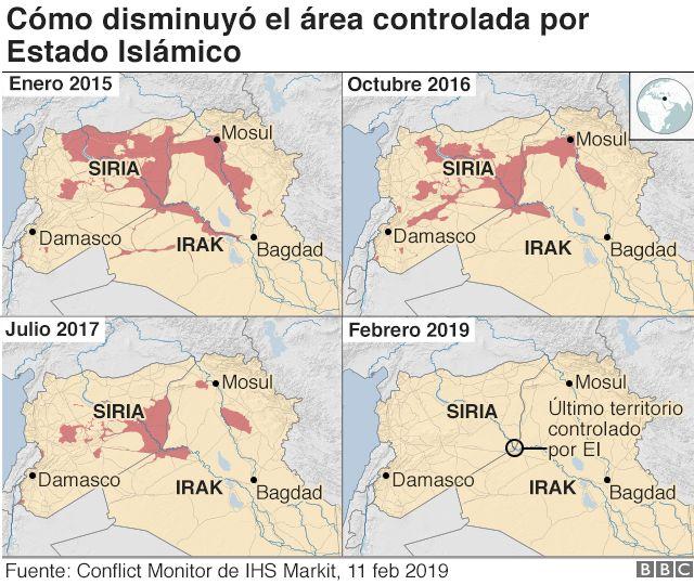 Cambios en el territorio controlado por Estado Islámico