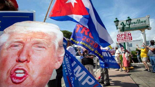 Una concentración a favor al presidente Trump en La Pequeña Habana, Miami.