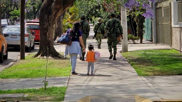 Soldiers on patrol in suburban Guadalajara