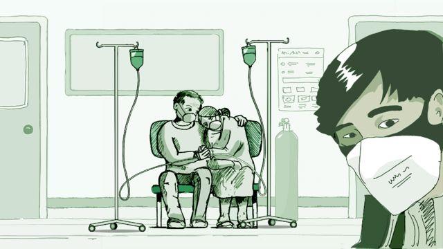 वुहान के अस्पताल की एक प्रतीकात्मक स्केच