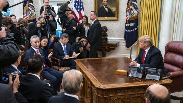 Vice Premier Liu He and President Donald Trump