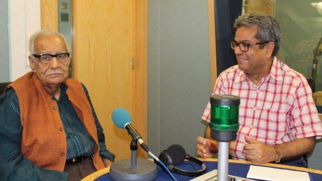 कुलदीप नैयर के साथ बीबीसी स्टूडियों में रेहान फ़ज़ल