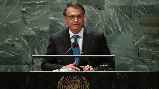 Bolsonaro durante discurso na ONU