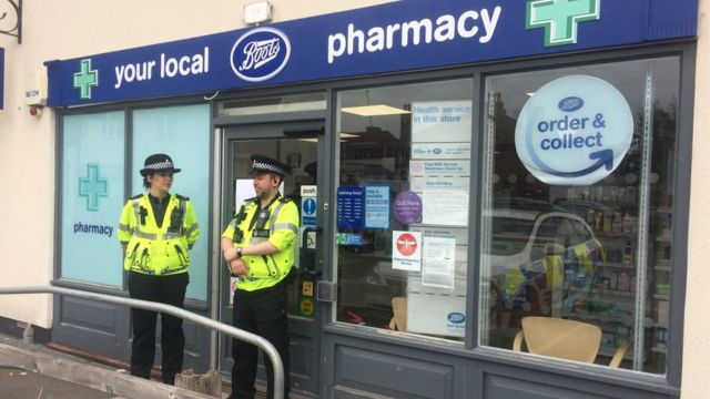 Police outside Boots in Amesbury