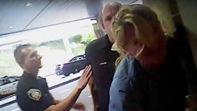 Nurse Alex Wubbels is shown during an incident at University of Utah Hospital in Salt Lake City, Utah, U.S., in this still photo taken from police body-worn camera video taken July 26, 2017
