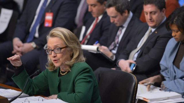 Hilary Clinton in front of the Senate Foreign Relations Committee on the September 11, 2012