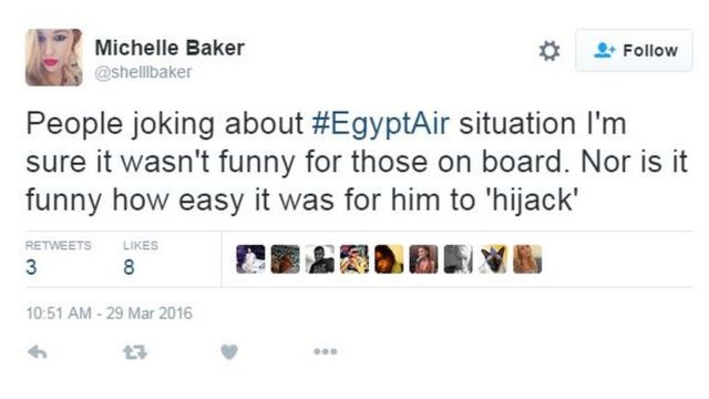 「エジプト航空機の状況を冗談にしてる人たち。機内の人たちには面白くなかったはず。あんなに『ハイジャック』しやすかったのも、笑い事じゃない」