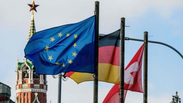 флаги ЕС, Германии и Швейцарии