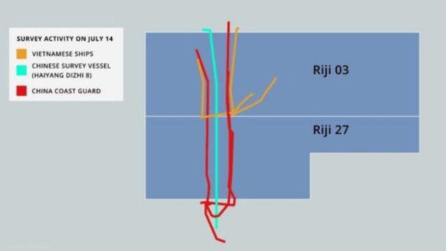 Tàu Việt Nam và Trung Quốc 'vờn nhau' quanh hai lô Riji 03 và Riji 27