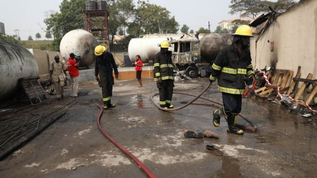 Lagos gas station catch fire