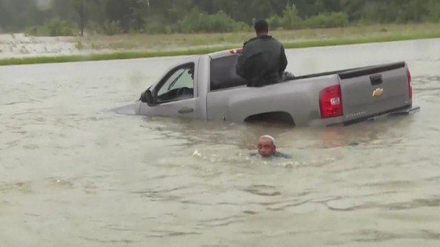 Vehicle stuck in Louisiana flood water