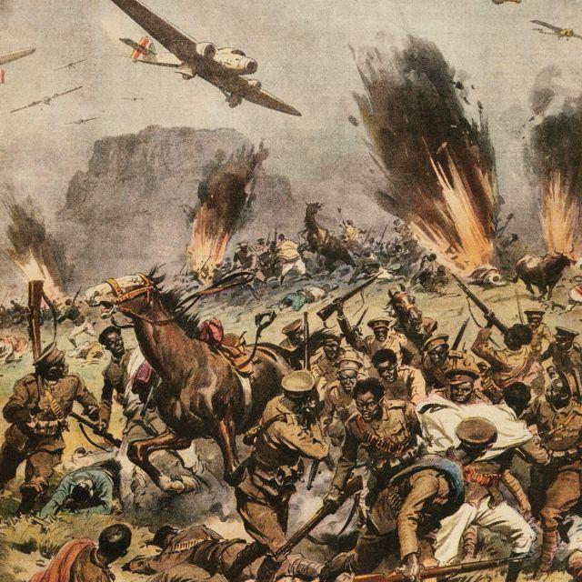 Battle of Amba Aradam illustrated by Achille Beltrame, which appeared in La Domenica del Corriere, 1 March 1936