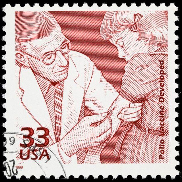 Estampilla celebrando la vacuna contra el polio