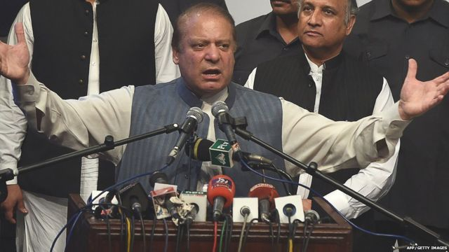 Sacked Pakistani prime minister Nawaz Sharif addresses the PML-N Workers convention in Lahore on October 4, 2017.