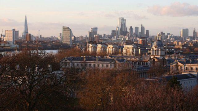 Vista de la zona financiera de Londres este diciembre.