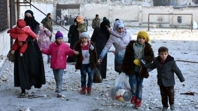 صورة نازحين من شرق حلب