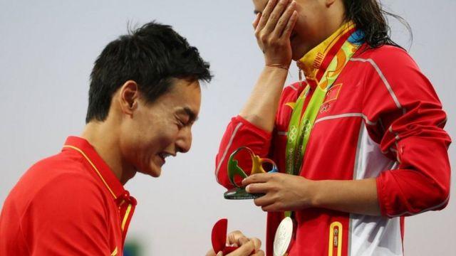 Chine JO olympique Rio He Zi fiançailles plongeon