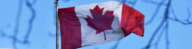 加拿大駐中國大使館樓頂上懸掛的加國國旗(15/1/2019)