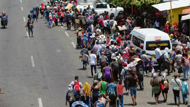 Migrantes en caravana