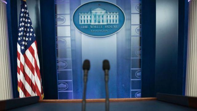 Sala de prensa de la Casa Blanca.