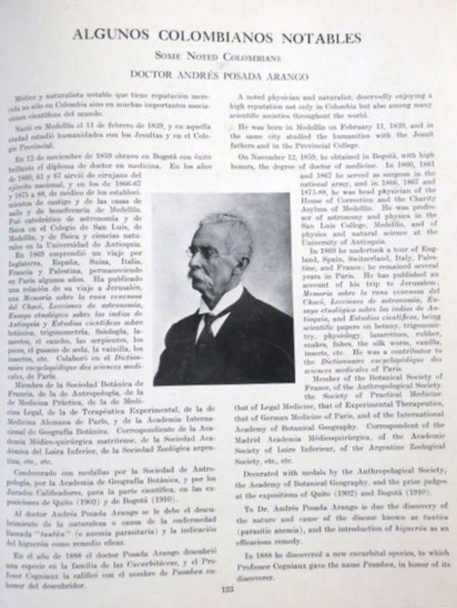 Página dedicada a Andrés Posada Arango, padre del editor.