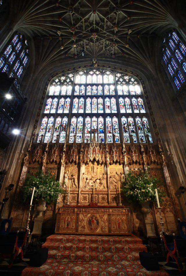 Flowers and foliage surround the High Altar of St George's Chapel at Windsor Castle for the wedding of Prince Harry to Meghan Markle.
