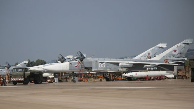 Russian Su-24 bombers at Hmeimim airbase, 6 Oct 15