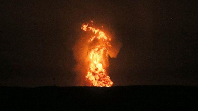 Hazar kıyısında patlama