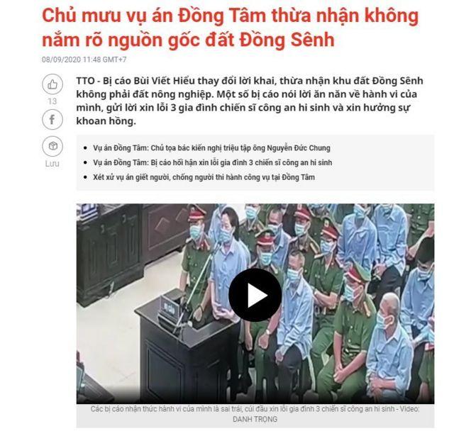 Báo chí chính thống Việt Nam được cho là đưa tin thiên lệch về phiên xét xử