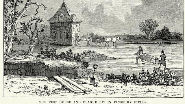 Epidemia de peste bubônica em Londres no séuclo 17 é representada em ilustração, em que pessoas carregam corpos
