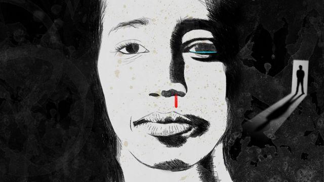 Ilustração mostra o rosto de uma mulher agredida dentro de casa, com seu agressor em pé próximo à porta, ao fundo