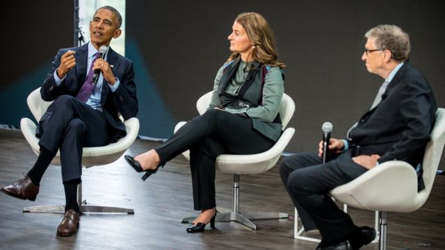 Barack Obama con Melinda y Bill Gates este miércoles 20 de septiembre en Nueva York.