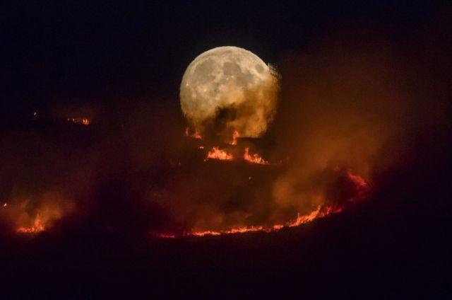 一輪明月亮從熊熊野火的上空冉冉升起。