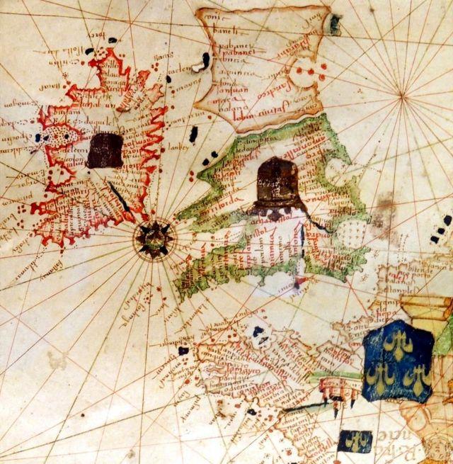 El mundo en el que Grace O'Malley nació, según el mapa de Jacopo Russo de circa 1528 en la 'Carte Geografiche'