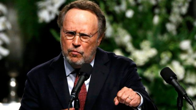 Actor Billy Crystal speaks at a memorial service for Muhammad Ali