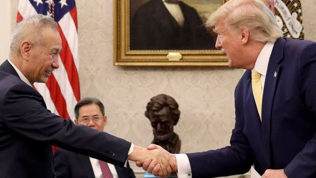 U.S. President Donald Trump shakes hands with Chinese Vice Premier Liu He