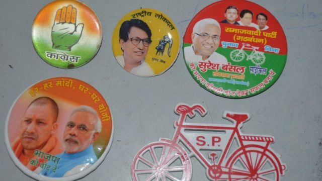A view of political posters, party flags and hoardings are seen at Navyug Market on April 4, 2019 in Ghaziabad, India.