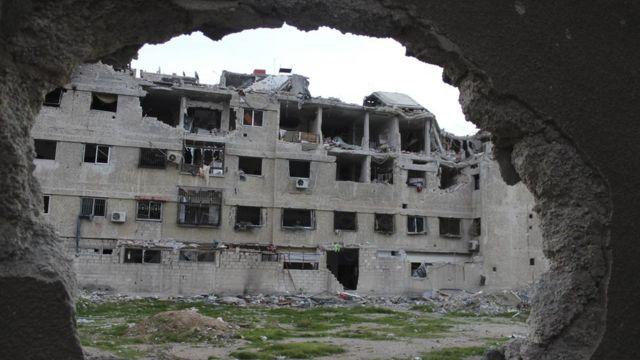 أرشيف- جانب من الدمار في سوريا