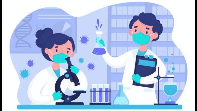 Ilustração de uma dupla em um laboratório