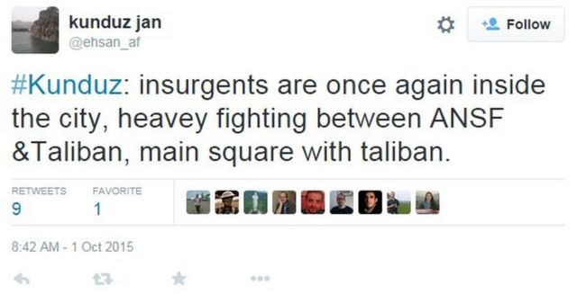 Tweet by @ehsan_af saying that the Taliban were fighting back on Thursday afternoon