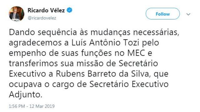 Tuíte de Ricardo Vélez anuncia saída de Luís Antônio Tozi