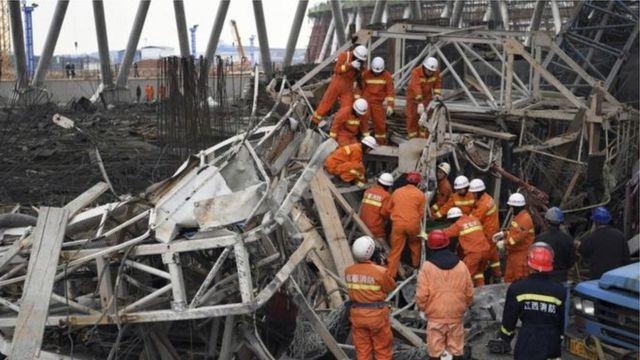 L'accident a eu lieu dans la centrale de Fengcheng où une tour de refroidissement était en construction.
