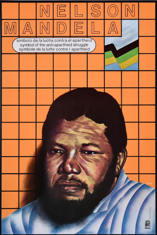 "An Ospaaal poster entitled Nelson Mandela, 1989 with the words: ""Symbol of the anti-apartheid struggle"""