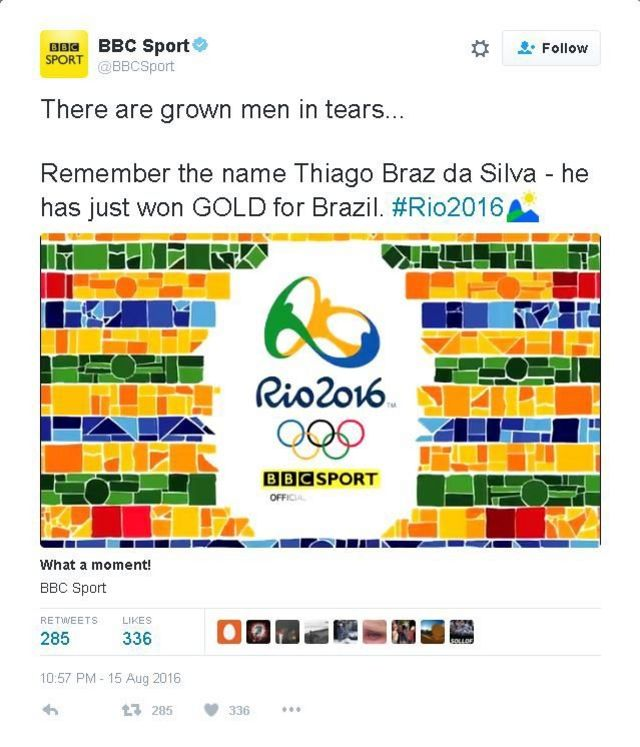 'Lembre-se do nome Thiago Braz da Silva', diz tuíte da BBC