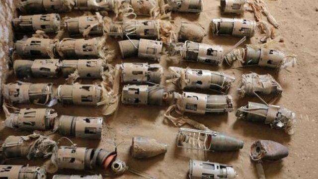 قنابل عنقودية بريطانية عثر عليها في اليمن