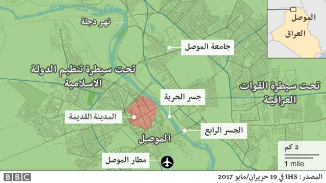 الخارطة الحالية للاوضاع العسكرية في الموصل